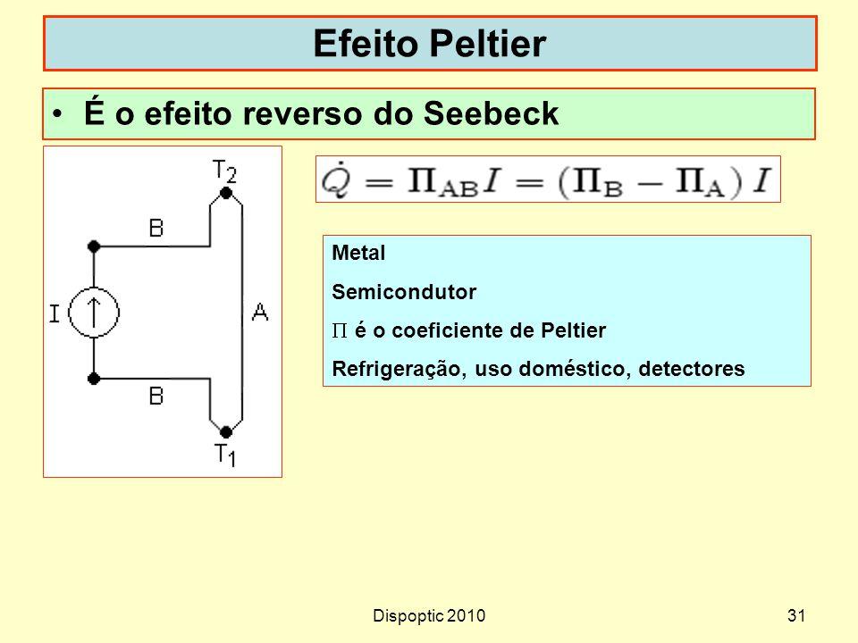Dispoptic 201031 Efeito Peltier É o efeito reverso do Seebeck Metal Semicondutor é o coeficiente de Peltier Refrigeração, uso doméstico, detectores