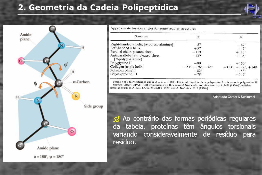 2. Geometria da Cadeia Polipeptídica Adaptado Cantor & Schimmel Ao contrário das formas periódicas regulares da tabela, proteínas têm ângulos torsiona