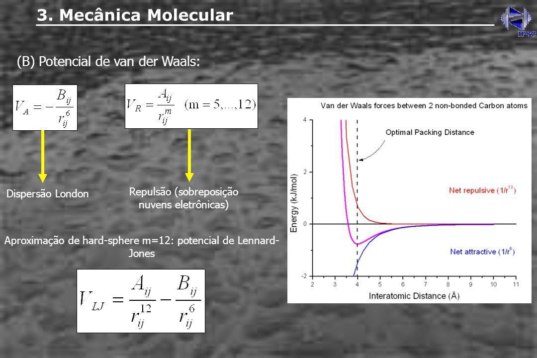 (B) Potencial de van der Waals: 3. Mecânica Molecular Dispersão London Repulsão (sobreposição nuvens eletrônicas) Aproximação de hard-sphere m=12: pot