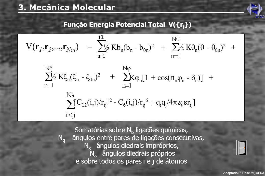 Função Energia Potencial Total V({r i }) V(r 1,r 2,...,r Nat ) = ½ Kb n (b n - b 0n ) 2 + ½ K n ( - 0n ) 2 + ½ K n ( n - 0n ) 2 + K n [1 + cos( n n n