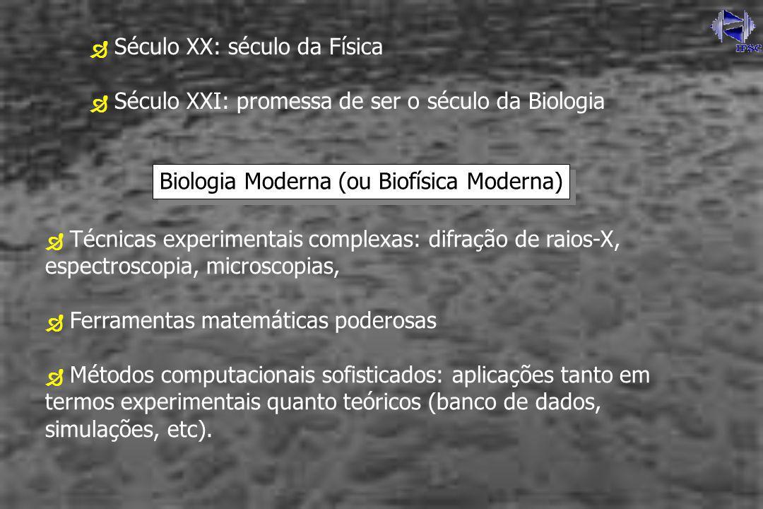 Século XX: século da Física Século XXI: promessa de ser o século da Biologia Biologia Moderna (ou Biofísica Moderna) Técnicas experimentais complexas: