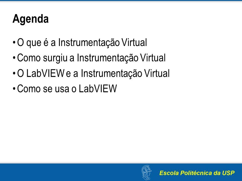 Agenda O que é a Instrumentação Virtual Como surgiu a Instrumentação Virtual O LabVIEW e a Instrumentação Virtual Como se usa o LabVIEW