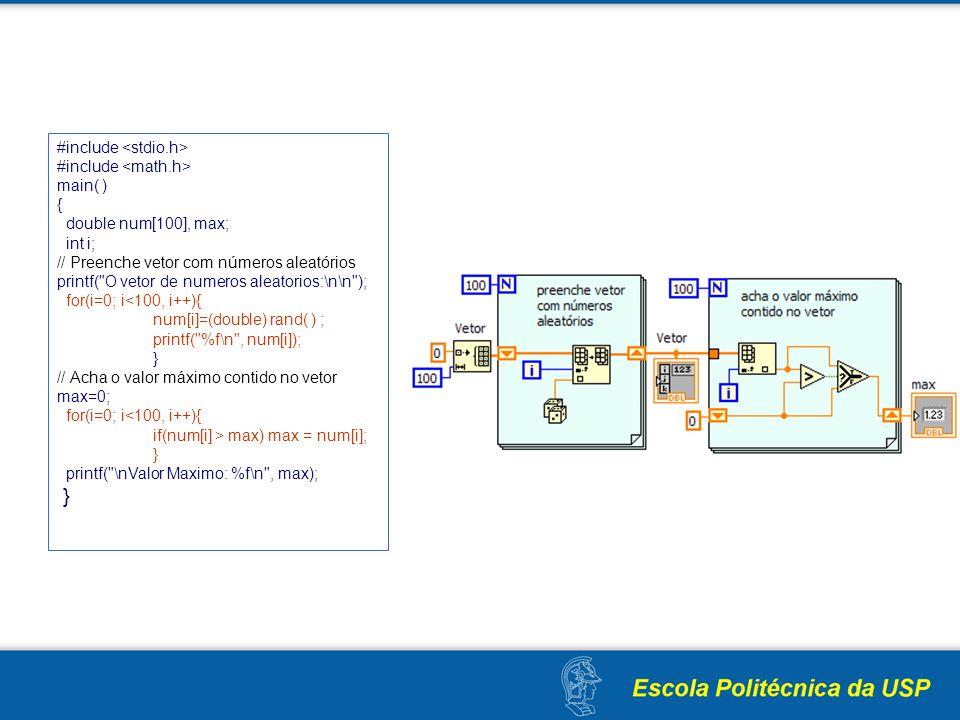 #include main( ) { double num[100], max; int i; // Preenche vetor com números aleatórios printf(