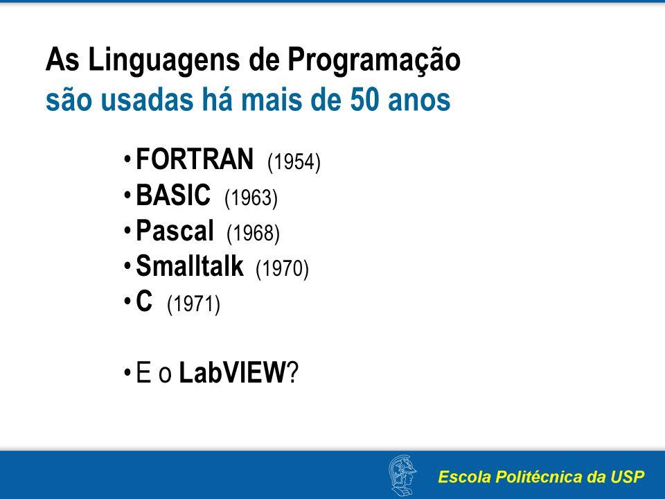 As Linguagens de Programação são usadas há mais de 50 anos FORTRAN (1954) BASIC (1963) Pascal (1968) Smalltalk (1970) C (1971) E o LabVIEW ?