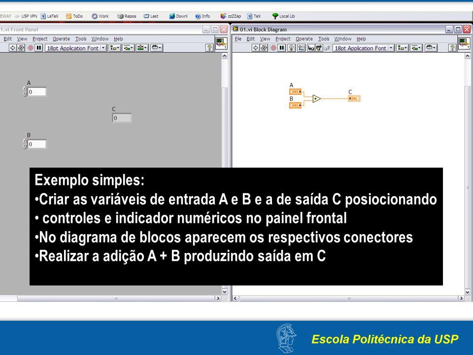 Exemplo simples: Criar as variáveis de entrada A e B e a de saída C posiocionando controles e indicador numéricos no painel frontal No diagrama de blo