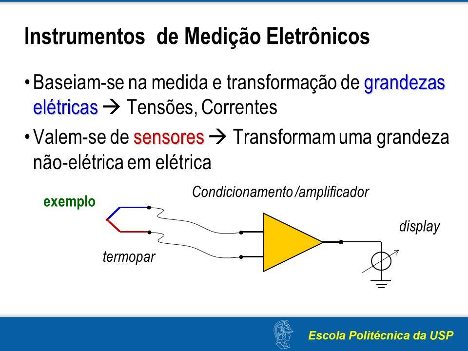 Instrumentos de Medição Eletrônicos grandezas elétricasBaseiam-se na medida e transformação de grandezas elétricas Tensões, Correntes sensoresValem-se