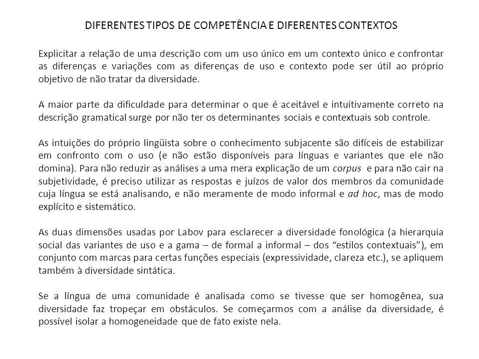 DIFERENTES TIPOS DE COMPETÊNCIA E DIFERENTES CONTEXTOS O trabalho com crianças e com o lugar da linguagem na educação requer uma teoria que permita analisar: uma comunidade lingüística heterogênea, uma competência diferencial, o papel constitutivo das diferenças socioculturais.
