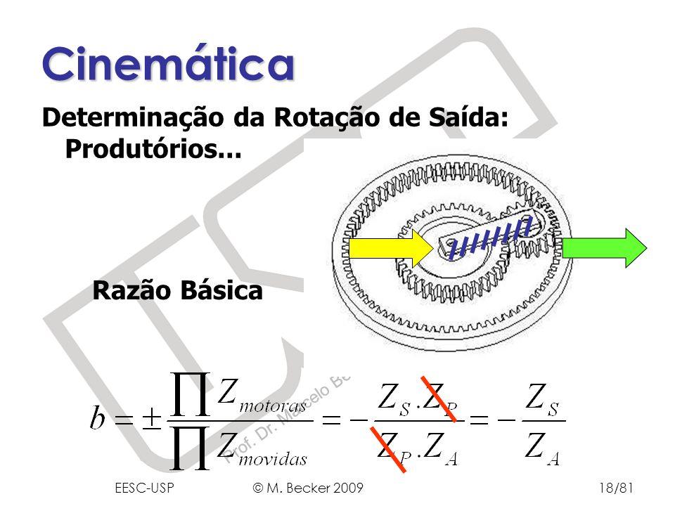 Prof. Dr. Marcelo Becker - SEM – EESC – USP Razão Básica Cinemática Determinação da Rotação de Saída: Produtórios... EESC-USP © M. Becker 200918/81