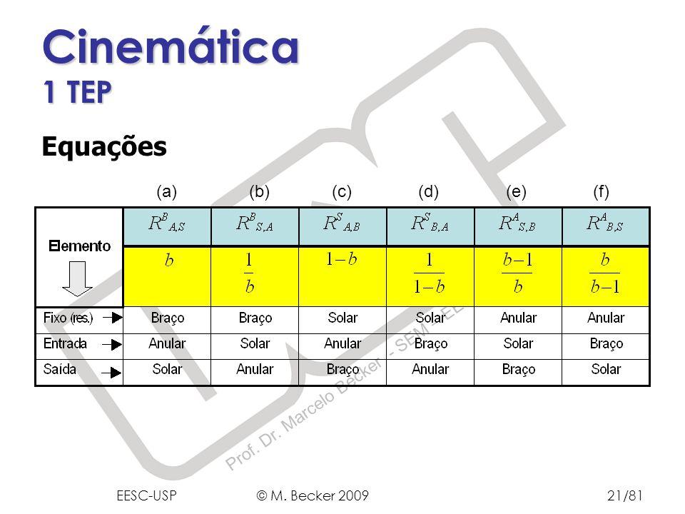 Prof. Dr. Marcelo Becker - SEM – EESC – USP Cinemática 1 TEP Equações (a) (b) (c) (d) (e) (f) EESC-USP © M. Becker 200921/81