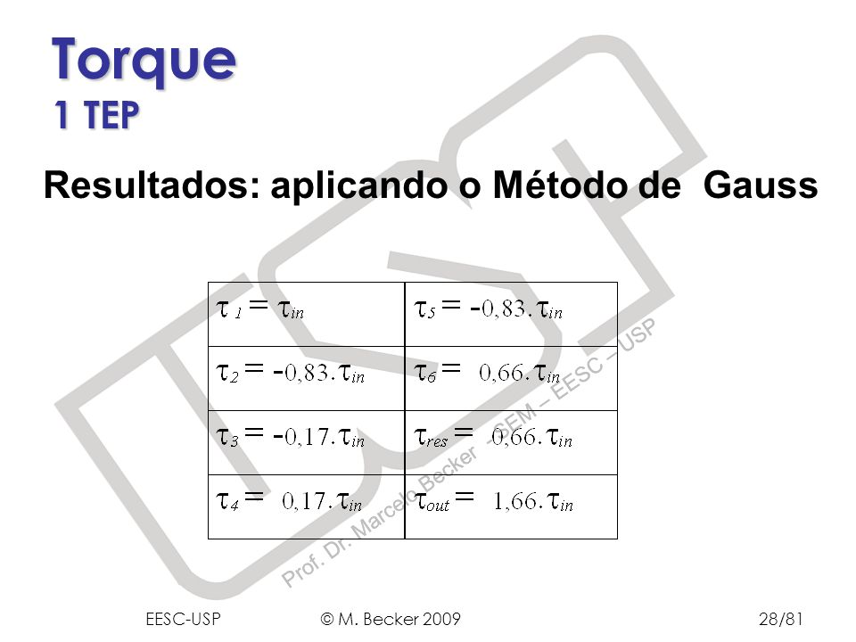 Prof. Dr. Marcelo Becker - SEM – EESC – USP Resultados: aplicando o Método de Gauss Torque 1 TEP EESC-USP © M. Becker 200928/81