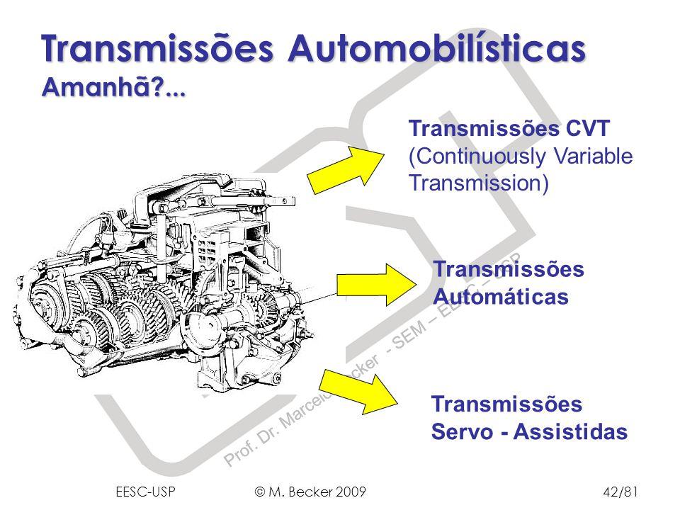 Prof. Dr. Marcelo Becker - SEM – EESC – USP Transmissões CVT (Continuously Variable Transmission) Transmissões Automáticas Transmissões Servo - Assist