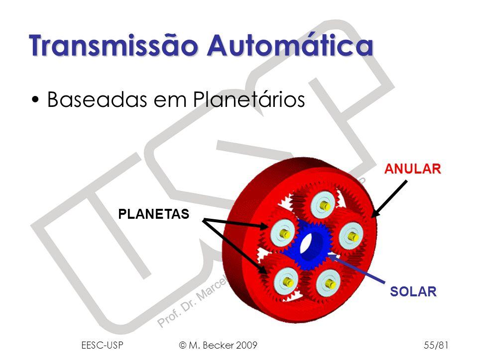 Prof. Dr. Marcelo Becker - SEM – EESC – USP Transmissão Automática Baseadas em Planetários SOLAR ANULAR PLANETAS EESC-USP © M. Becker 200955/81
