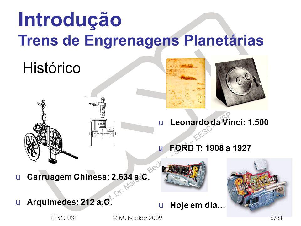 Prof. Dr. Marcelo Becker - SEM – EESC – USP uArquimedes: 212 a.C. uCarruagem Chinesa: 2.634 a.C. uLeonardo da Vinci: 1.500 uFORD T: 1908 a 1927 uHoje