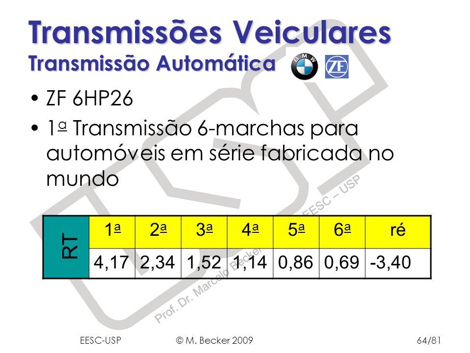 Prof. Dr. Marcelo Becker - SEM – EESC – USP ZF 6HP26 1 a Transmissão 6-marchas para automóveis em série fabricada no mundo Transmissões Veiculares Tra