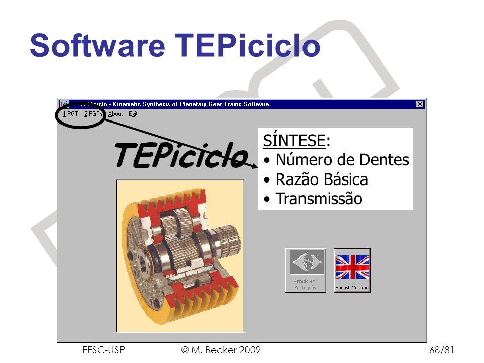 Prof. Dr. Marcelo Becker - SEM – EESC – USP SÍNTESE: Número de Dentes Razão Básica Transmissão Software TEPiciclo EESC-USP © M. Becker 200968/81