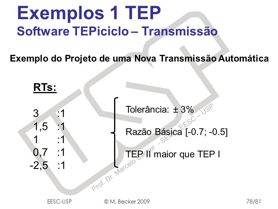 Prof. Dr. Marcelo Becker - SEM – EESC – USP Exemplo do Projeto de uma Nova Transmissão Automática RTs: 3 :1 1,5 :1 1 :1 0,7 :1 -2,5 :1 Tolerância: ± 3