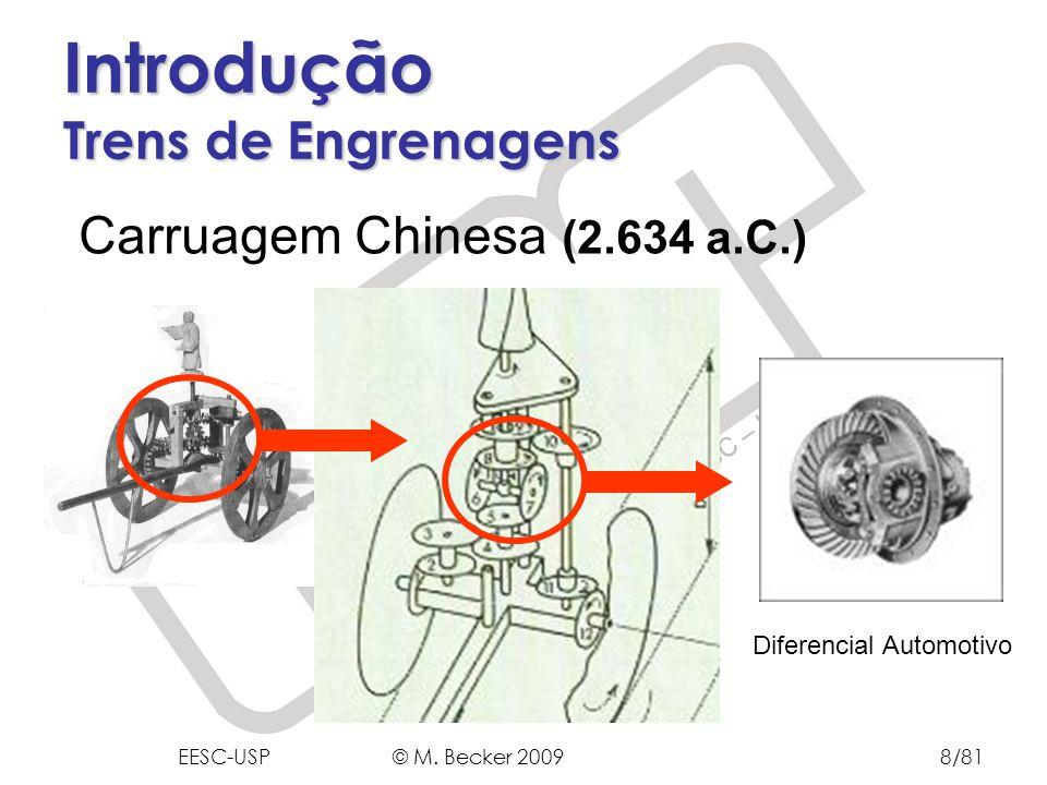 Prof. Dr. Marcelo Becker - SEM – EESC – USP Introdução Trens de Engrenagens Carruagem Chinesa (2.634 a.C.) Diferencial Automotivo EESC-USP © M. Becker