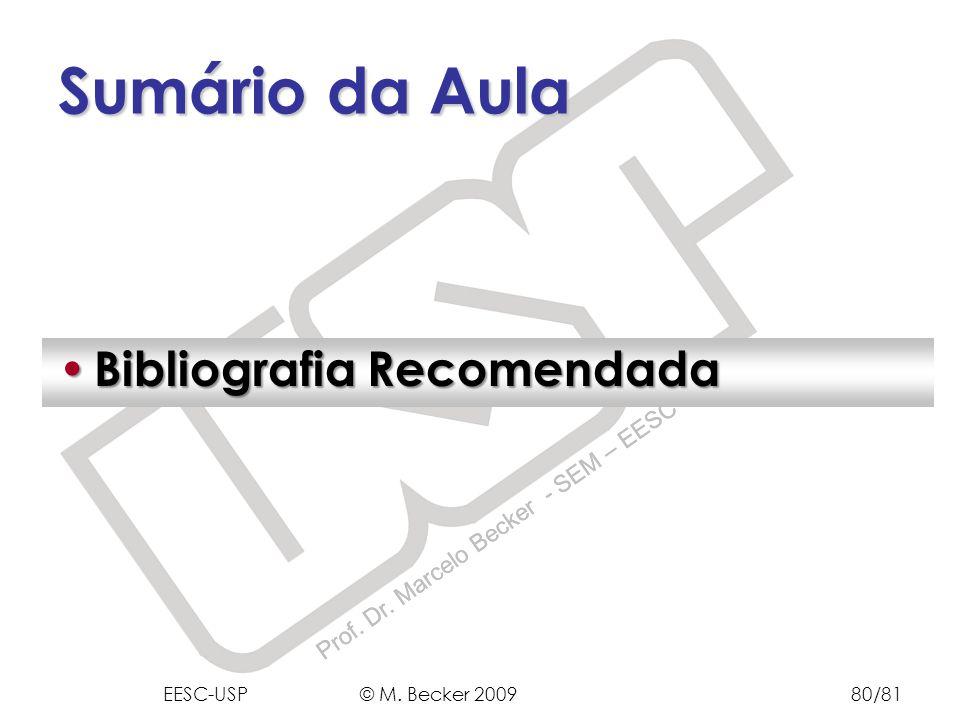 Prof. Dr. Marcelo Becker - SEM – EESC – USP Bibliografia Recomendada Bibliografia Recomendada Sumário da Aula EESC-USP © M. Becker 200980/81
