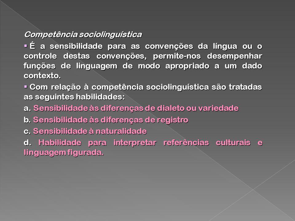 Competência sociolinguística É a sensibilidade para as convenções da língua ou o controle destas convenções, permite-nos desempenhar funções de lingua