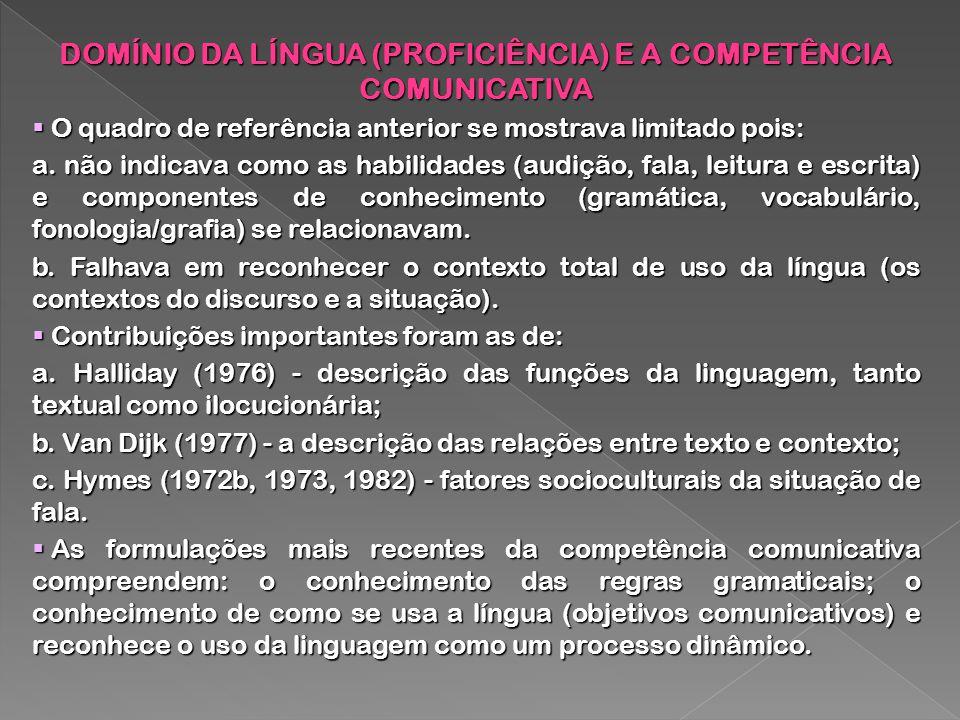 DOMÍNIO DA LÍNGUA (PROFICIÊNCIA) E A COMPETÊNCIA COMUNICATIVA O quadro de referência anterior se mostrava limitado pois: O quadro de referência anteri
