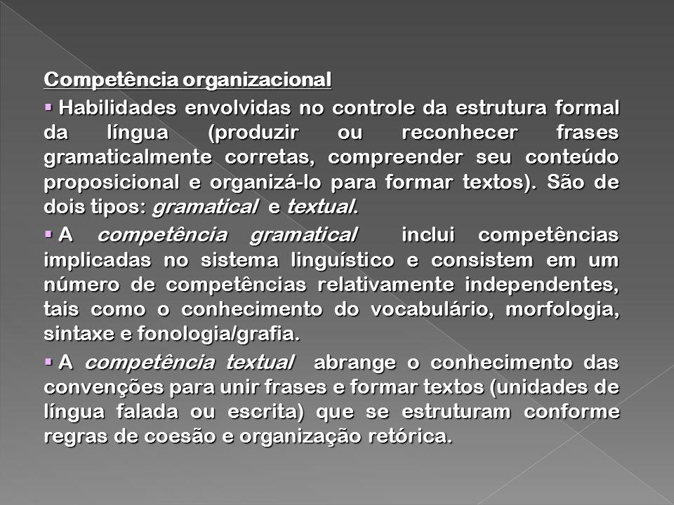 Competência organizacional Habilidades envolvidas no controle da estrutura formal da língua (produzir ou reconhecer frases gramaticalmente corretas, compreender seu conteúdo proposicional e organizá-lo para formar textos).