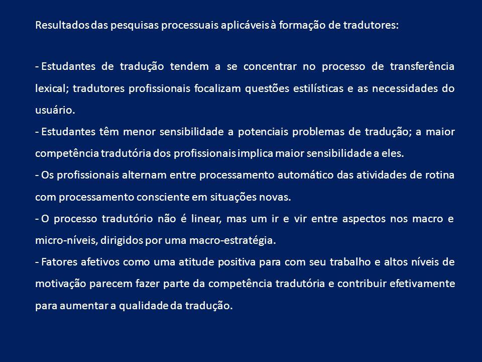 Resultados das pesquisas processuais aplicáveis à formação de tradutores: - Estudantes de tradução tendem a se concentrar no processo de transferência