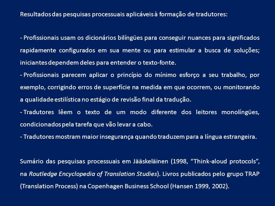 Resultados das pesquisas processuais aplicáveis à formação de tradutores: - Profissionais usam os dicionários bilíngües para conseguir nuances para si