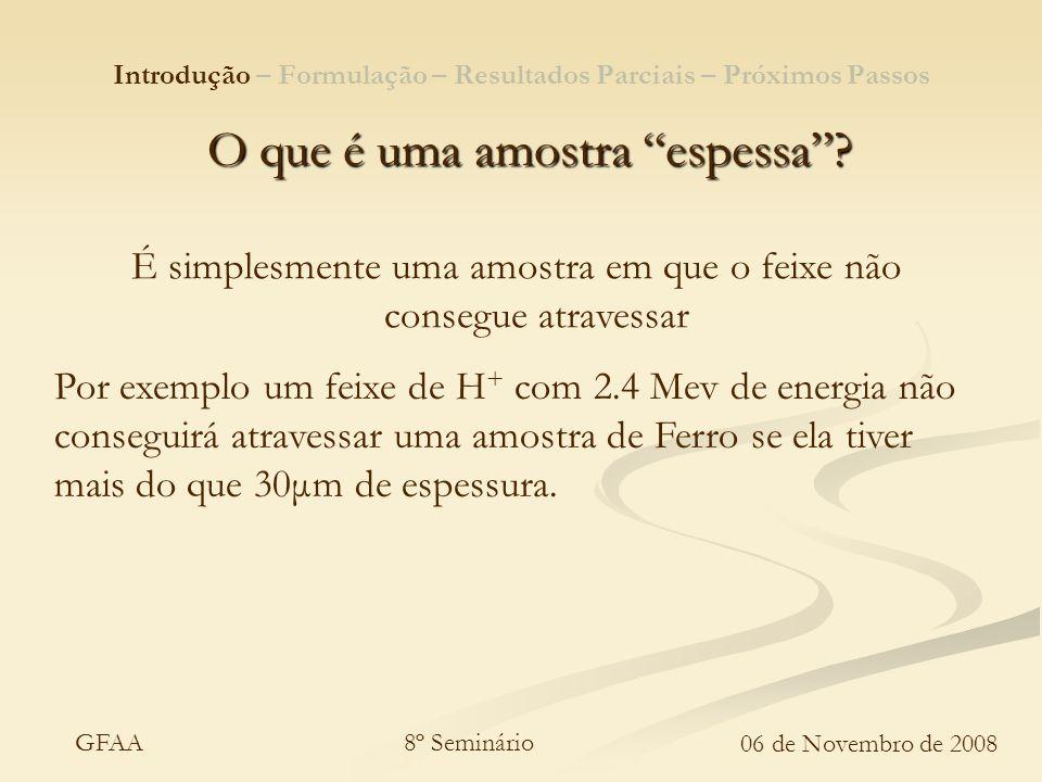 8º Seminário 06 de Novembro de 2008 GFAA O que é uma amostra espessa? É simplesmente uma amostra em que o feixe não consegue atravessar Por exemplo um