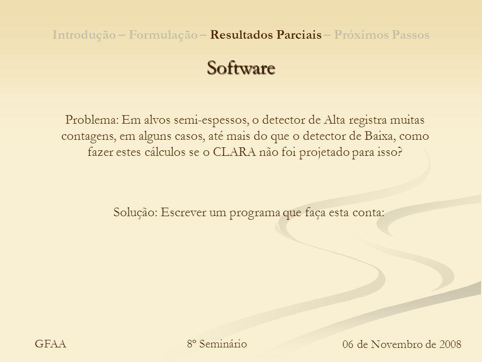 8º Seminário 06 de Novembro de 2008 GFAA Introdução – Formulação – Resultados Parciais – Próximos Passos Software Problema: Em alvos semi-espessos, o