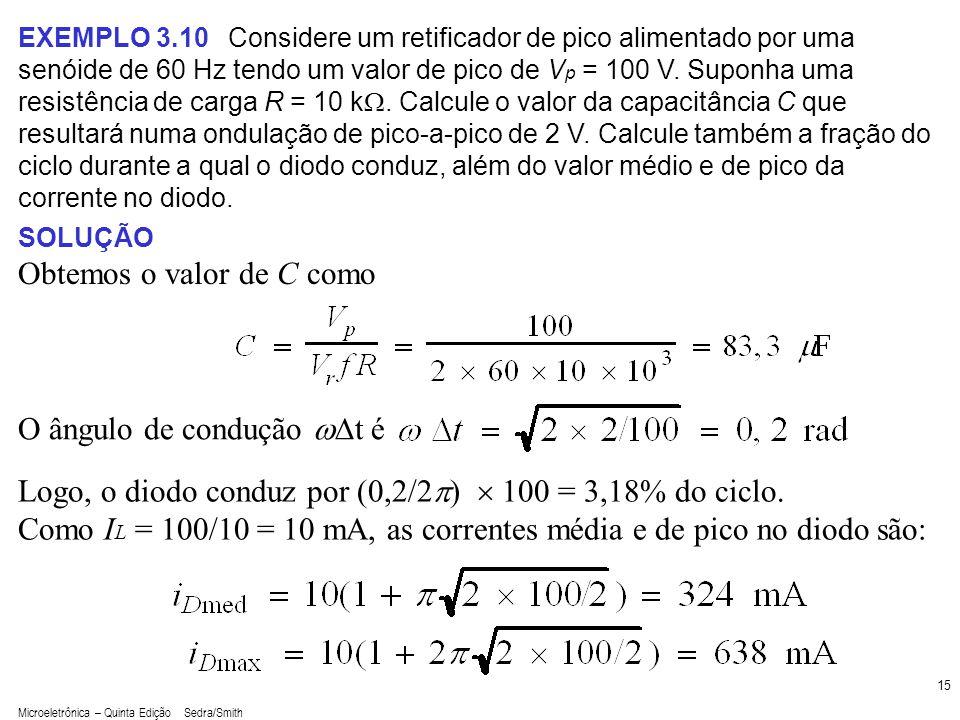 Microeletrônica – Quinta Edição Sedra/Smith 15 EXEMPLO 3.10 Considere um retificador de pico alimentado por uma senóide de 60 Hz tendo um valor de pic