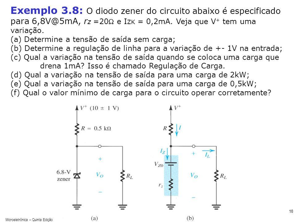 Microeletrônica – Quinta Edição Sedra/Smith 18 Exemplo 3.8: O diodo zener do circuito abaixo é especificado para 6,8V@5mA, r z =20 e I ZK = 0,2mA. Vej