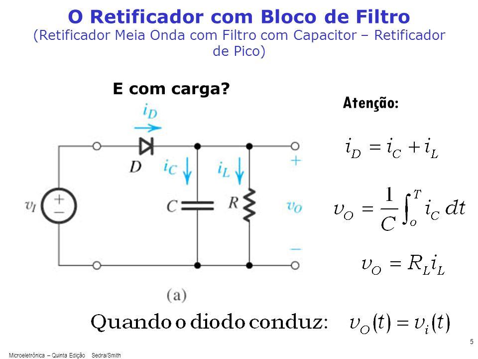Microeletrônica – Quinta Edição Sedra/Smith 5 O Retificador com Bloco de Filtro (Retificador Meia Onda com Filtro com Capacitor – Retificador de Pico)