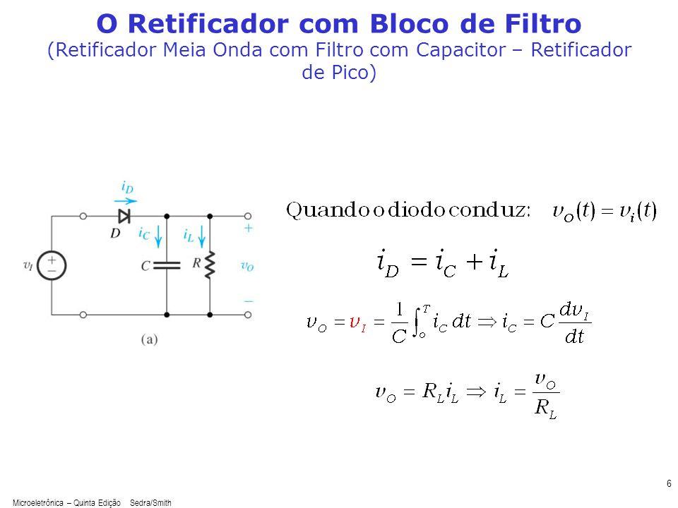 Microeletrônica – Quinta Edição Sedra/Smith 6 O Retificador com Bloco de Filtro (Retificador Meia Onda com Filtro com Capacitor – Retificador de Pico)