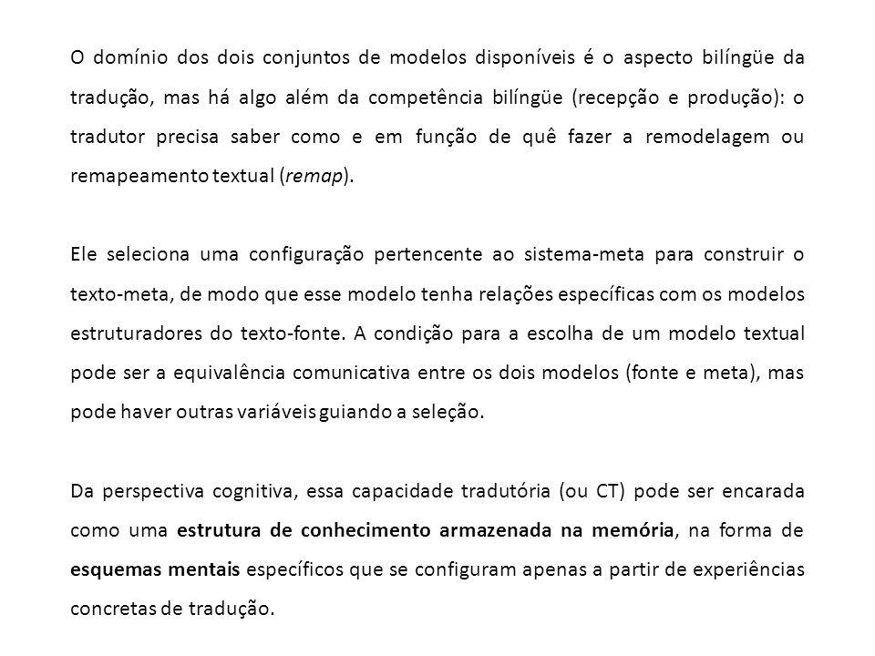 O domínio dos dois conjuntos de modelos disponíveis é o aspecto bilíngüe da tradução, mas há algo além da competência bilíngüe (recepção e produção):