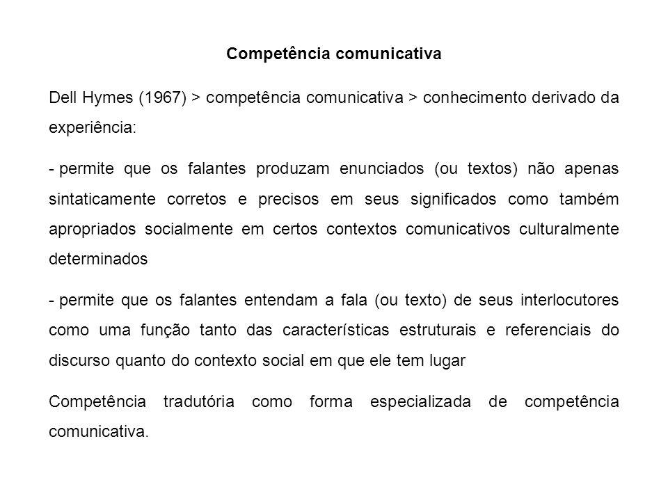 Competência comunicativa Dell Hymes (1967) > competência comunicativa > conhecimento derivado da experiência: - permite que os falantes produzam enunc