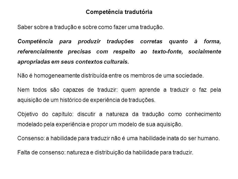 Competência tradutória Saber sobre a tradução e sobre como fazer uma tradução. Competência para produzir traduções corretas quanto à forma, referencia