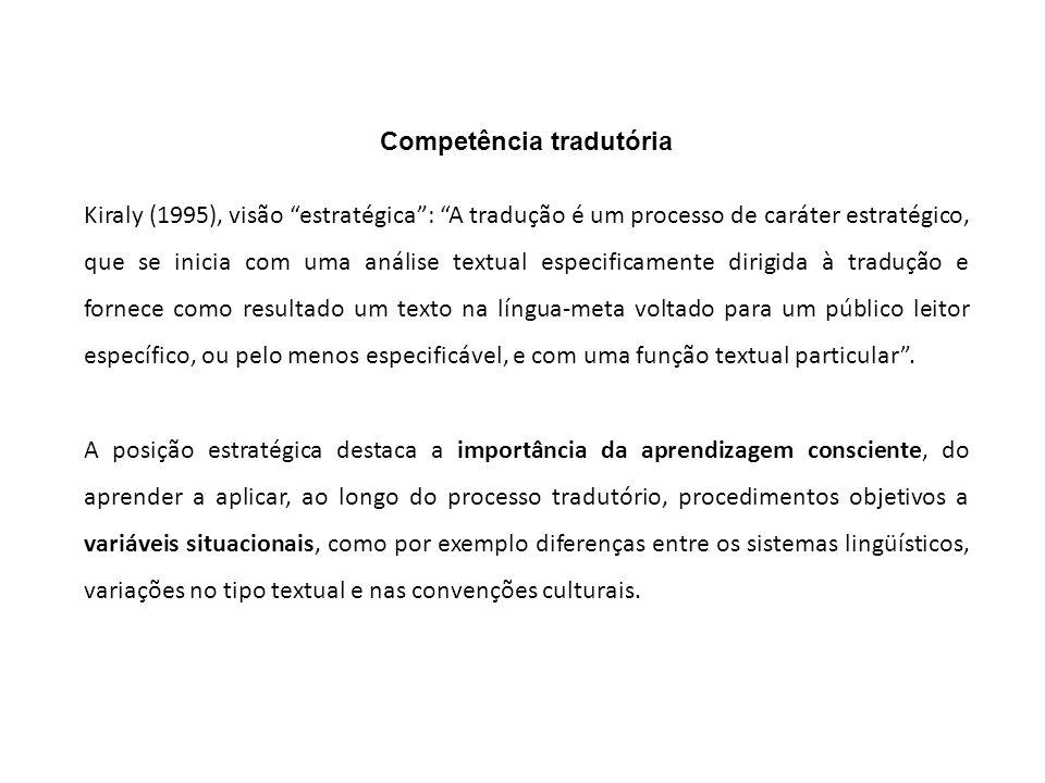 Competência tradutória Kiraly (1995), visão estratégica: A tradução é um processo de caráter estratégico, que se inicia com uma análise textual especi