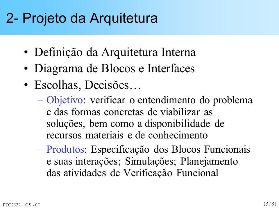 PTC2527 – GS - 07 15 / 61 2- Projeto da Arquitetura Definição da Arquitetura Interna Diagrama de Blocos e Interfaces Escolhas, Decisões… –Objetivo: ve