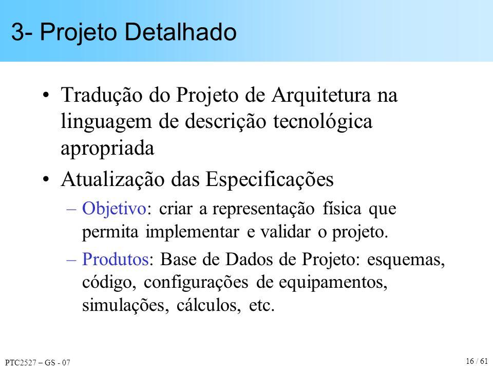 PTC2527 – GS - 07 16 / 61 3- Projeto Detalhado Tradução do Projeto de Arquitetura na linguagem de descrição tecnológica apropriada Atualização das Esp