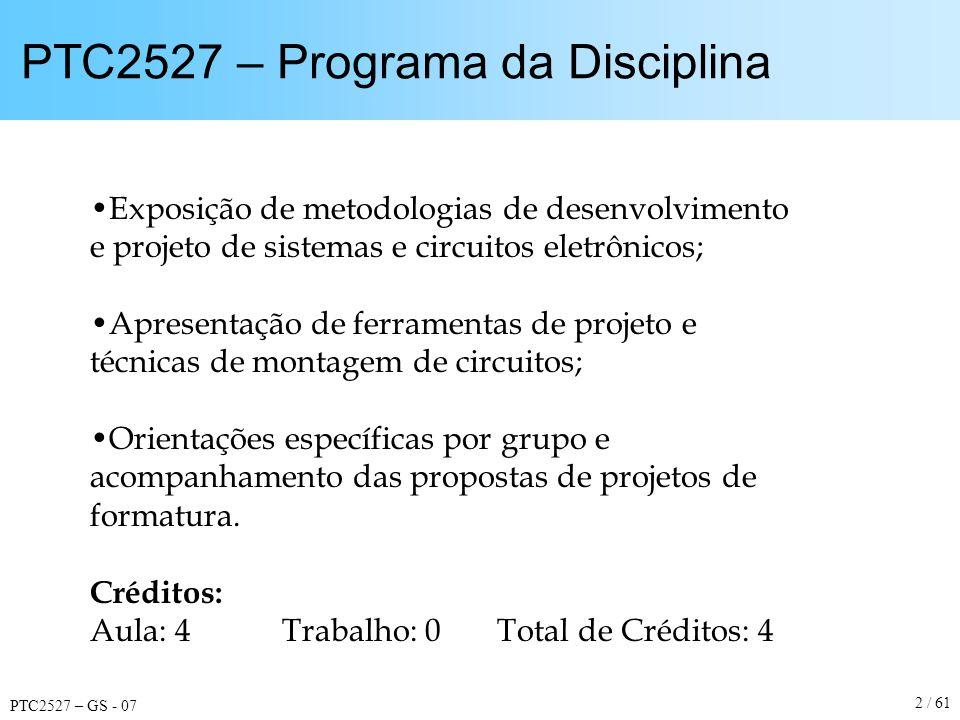 PTC2527 – GS - 07 43 / 61 Temas para Projetos de Formatura Quanto às Diretivas: –Inovação –Domínio Tecnológico –Cunho Exploratório –Especialização –Interdisciplinaridade –Utilidade para a Escola ou para a Sociedade