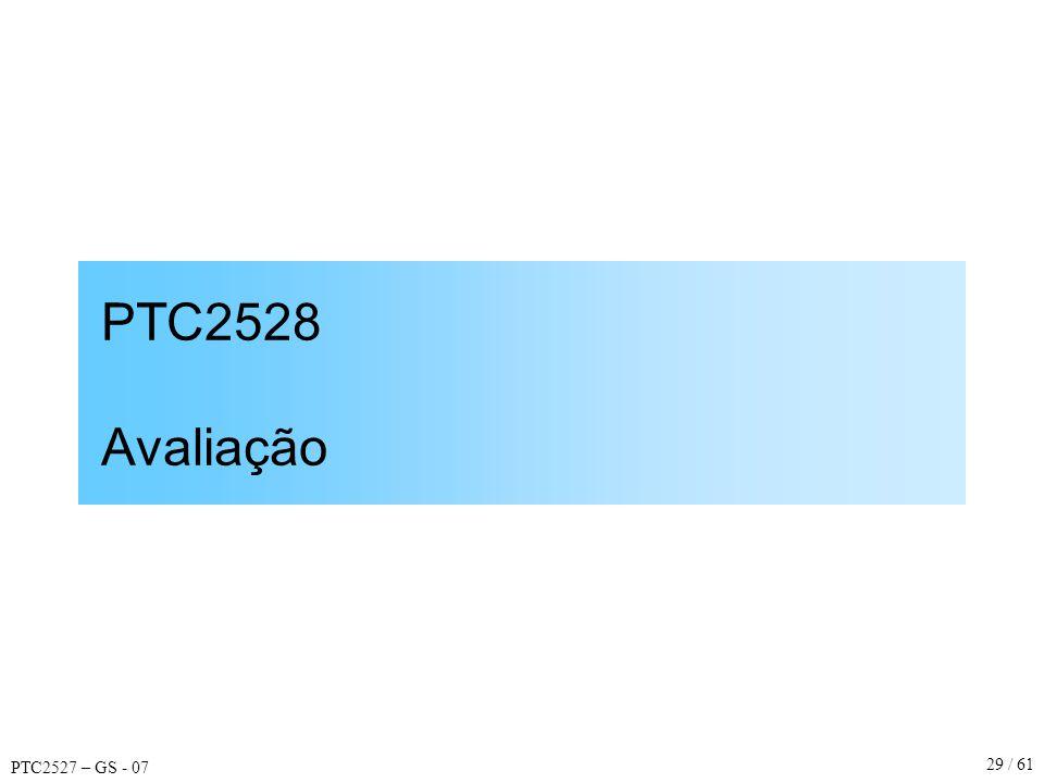 PTC2527 – GS - 07 29 / 61 PTC2528 Avaliação