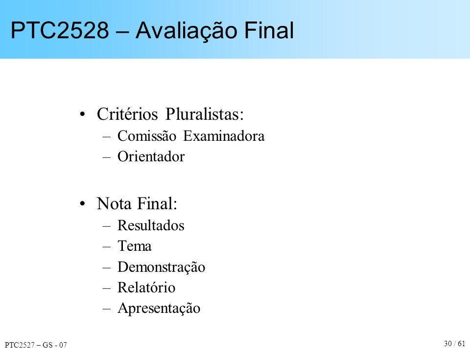 PTC2527 – GS - 07 30 / 61 PTC2528 – Avaliação Final Critérios Pluralistas: –Comissão Examinadora –Orientador Nota Final: –Resultados –Tema –Demonstraç