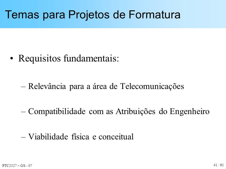 PTC2527 – GS - 07 41 / 61 Temas para Projetos de Formatura Requisitos fundamentais: –Relevância para a área de Telecomunicações –Compatibilidade com a