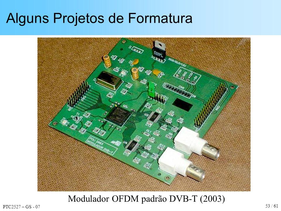 PTC2527 – GS - 07 53 / 61 Alguns Projetos de Formatura Modulador OFDM padrão DVB-T (2003)