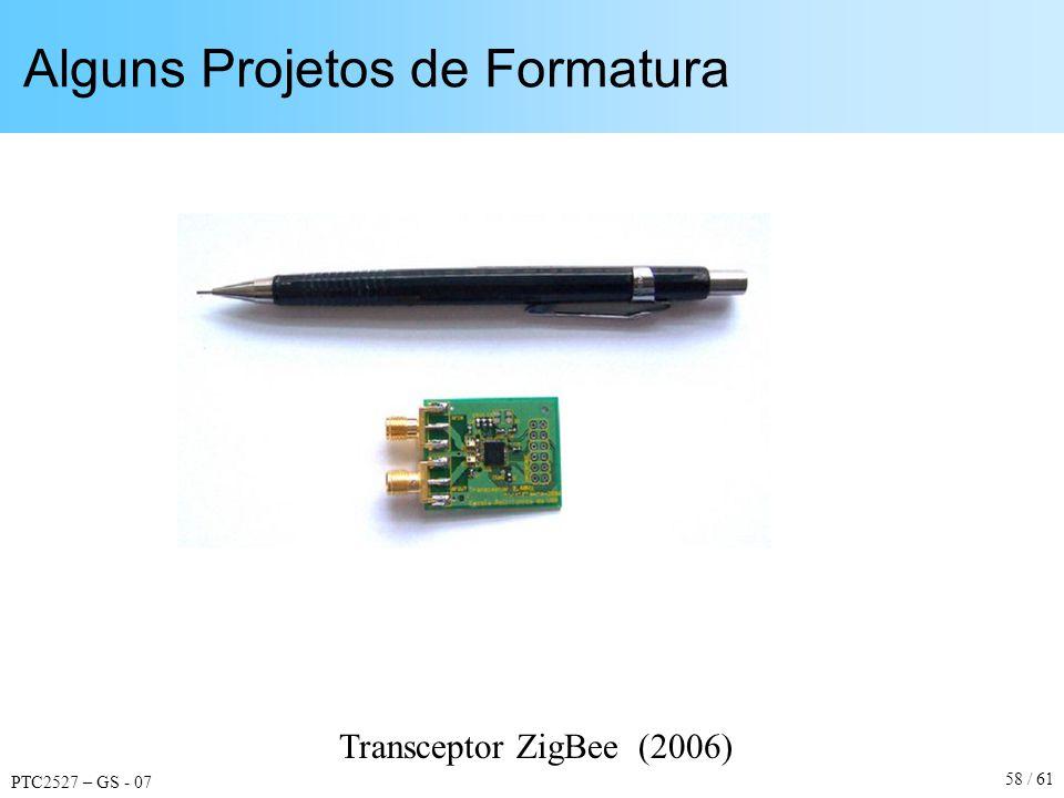 PTC2527 – GS - 07 58 / 61 Alguns Projetos de Formatura Transceptor ZigBee (2006)