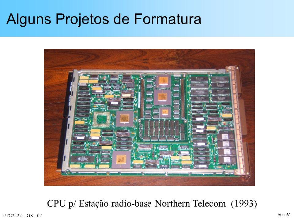 PTC2527 – GS - 07 60 / 61 Alguns Projetos de Formatura CPU p/ Estação radio-base Northern Telecom (1993)