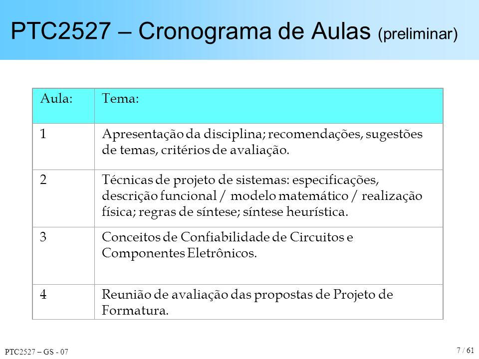 PTC2527 – GS - 07 7 / 61 PTC2527 – Cronograma de Aulas (preliminar) Aula:Tema: 1Apresentação da disciplina; recomendações, sugestões de temas, critéri
