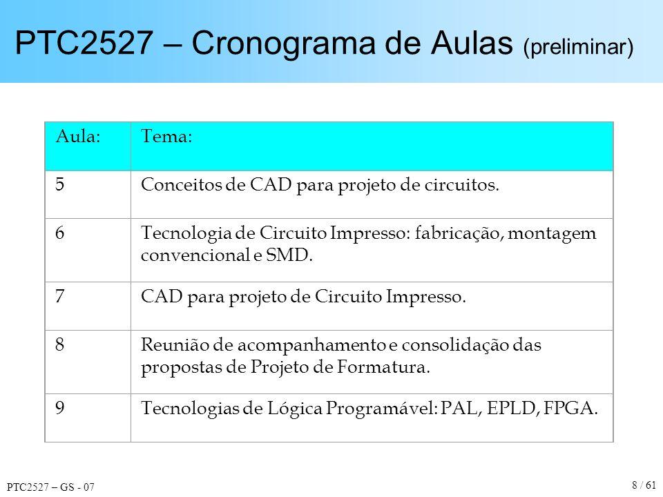 PTC2527 – GS - 07 9 / 61 PTC2527 – Cronograma de Aulas (preliminar) Aula:Tema: 10Ferramentas de projeto para EPLD e FPGA: captura de esquemáticos.