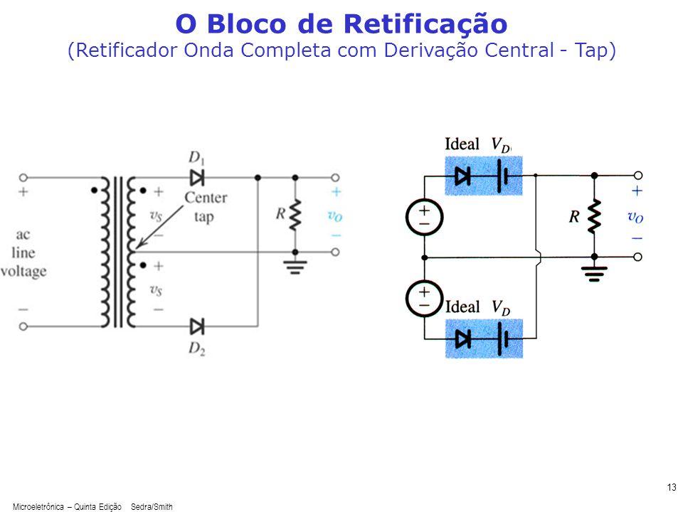 Microeletrônica – Quinta Edição Sedra/Smith 13 O Bloco de Retificação (Retificador Onda Completa com Derivação Central - Tap)