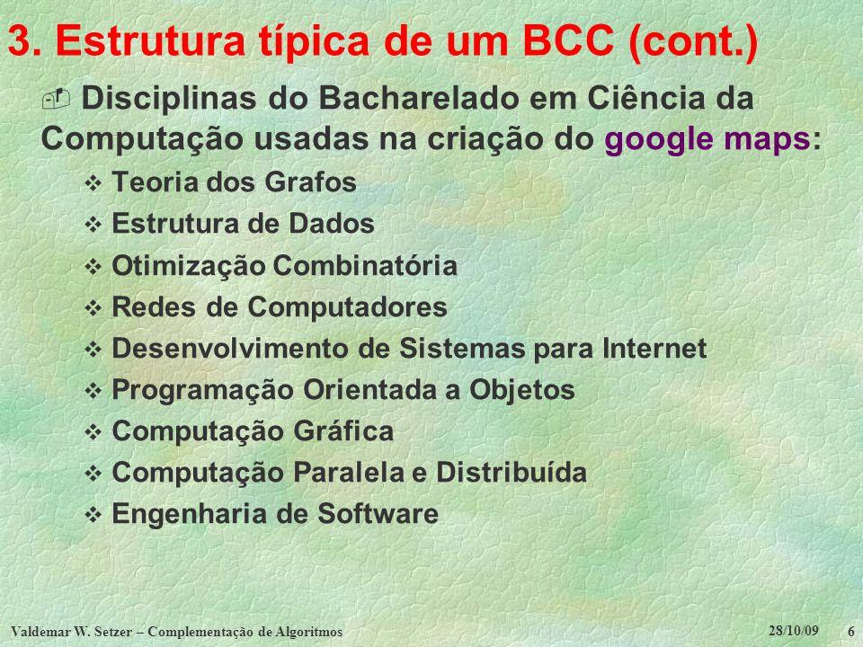 28/10/09 Valdemar W. Setzer – Complementação de Algoritmos 6 3. Estrutura típica de um BCC (cont.) Disciplinas do Bacharelado em Ciência da Computação